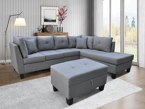 9125 Milt Light Gray Sectional with Storage Ottoman