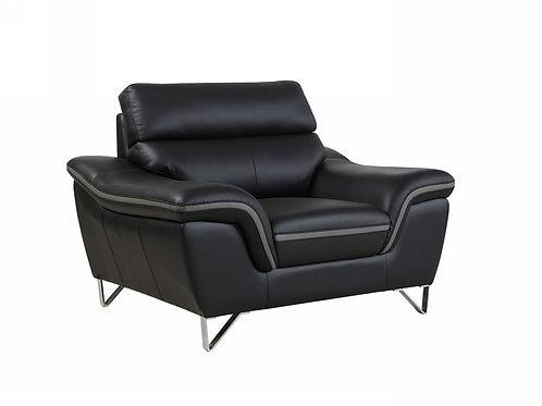 168 Geo Modern Leather Black Chair