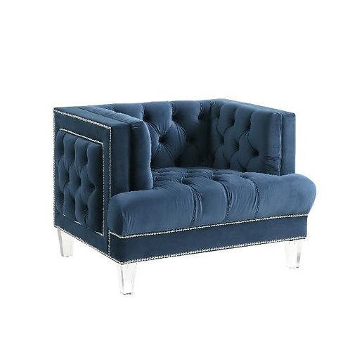All ANSARIO BLUE VELVET Tufted Acrylic Leg Chair