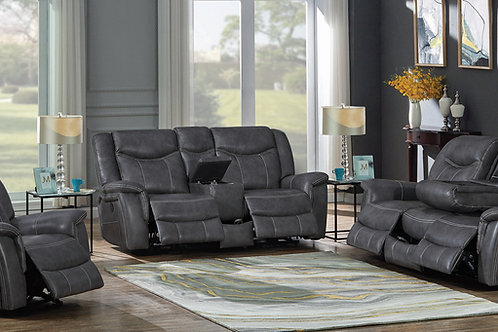 Conrad Cali Upholstered Power Sofa With Drop-Down Table Grey