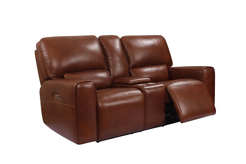 BROADWAY Italia Brown Genuine Leather Power Reclining Console Loveseat