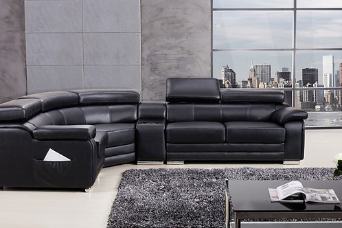 516 AE Black Genuine Leather Sectional - Right Sitting