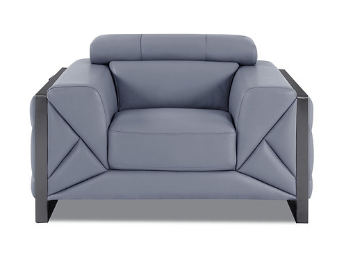 903 Geo Italian Leather Light Blue Chair