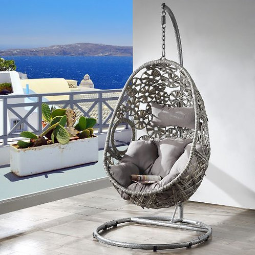 All Patio Light Gray Hanging Chair with Stand - 45107