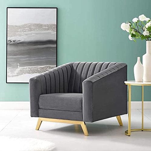 Valiant Mod Vertical Tufted Velvet Armchair in Gray