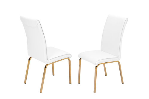 Best Q D59-SC  Faux Leather White/Gold Chair