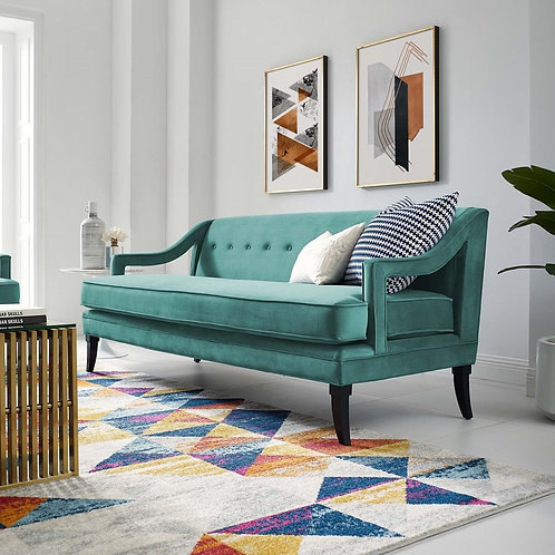 Concur Mod Button Tufted Performance Velvet Sofa in Teal