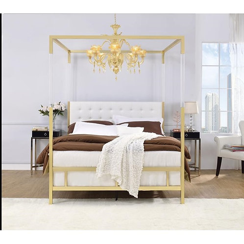 Raegan All White PU and Gold Queen Bed