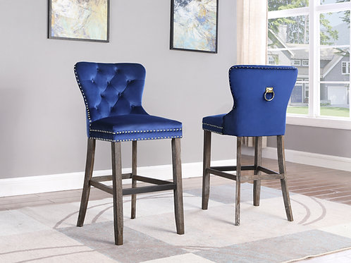Best BS161 Navy Velvet Tufted, Ring Handle & Nailhead Trim Barstool