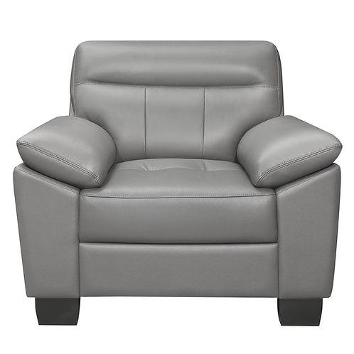 Denizen Henry Gray Leather Chair Modern