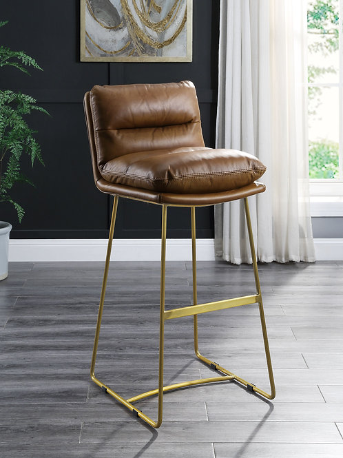 All Alsey Industrial, Contemporary Brown Top Grain Leather Counter Height Chair