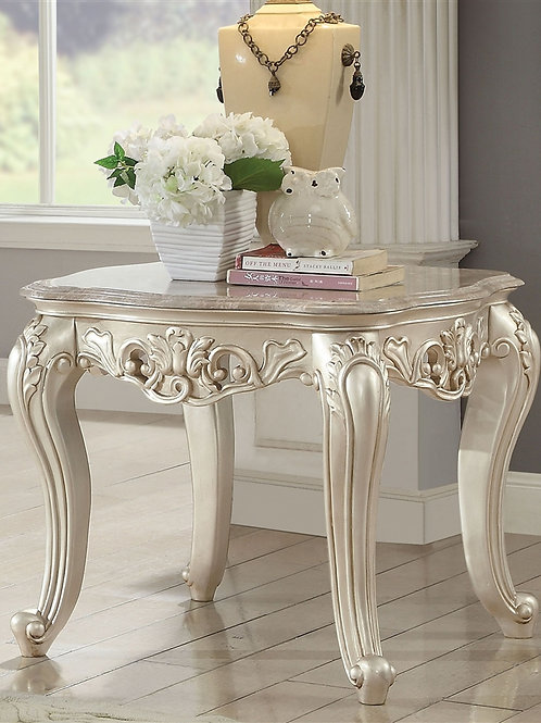 All Gorsedd End Table w/Marble Top Marble & Antique White