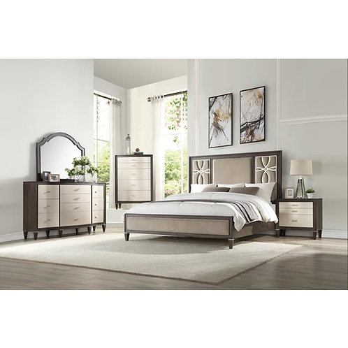 Peregrine All Fabric & Walnut Finish Bed