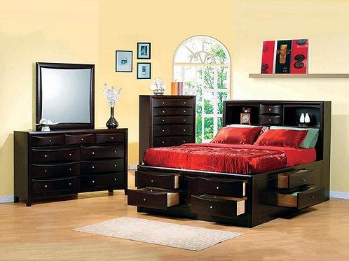 Phoenix Cali 10-drawer Bed Cappuccino