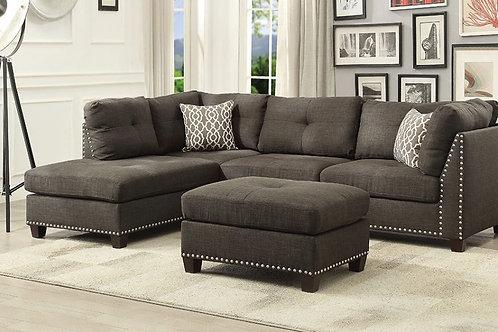 All Laurissa Sectional Sofa & Ottoman (2 Pillows) Charcoal Linen