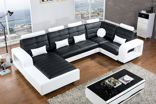 800 AE Black and White Faux Leather Sectional - Right Sitting