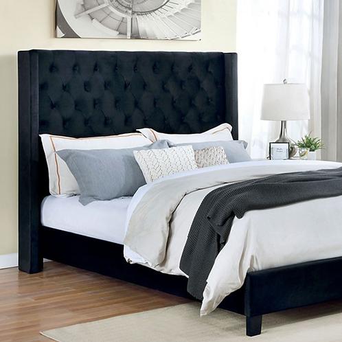 Imprad RYLEIGH Transitional Black Velvet-like Fabric Bed
