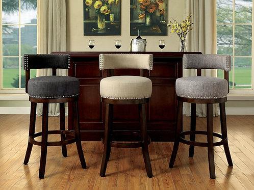 LYNSEY Imprad 25'' Beige Fabric-Oak Wood Nail Heads Counter Ht. Stool