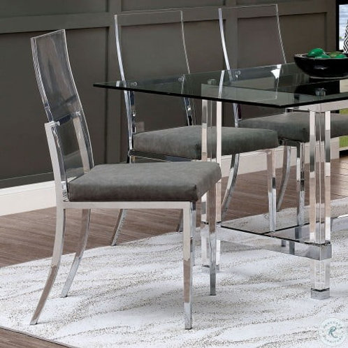 CASPER Imprad Contemporary Leather/Acrylic Legs Side Chair