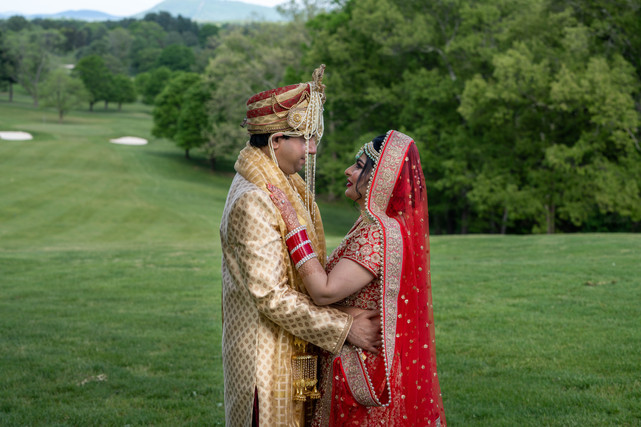Indian Bride and Groom on Golf Course