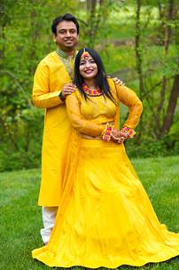 Bride and Groom in Yellow Haldi Attire