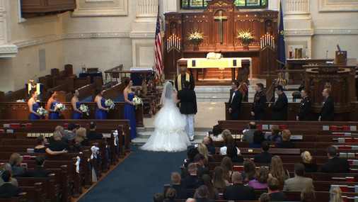 Bride and Groom at Naval  Academy