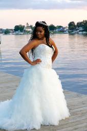 Portrait of bride near lake