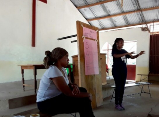 Linda and Faith talking about the Kericho Cluster