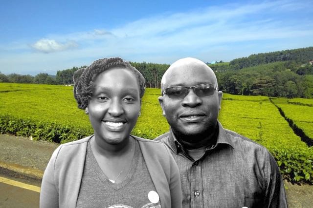Christine and Hormisdas with one of Kericho's tea plantations in the background.