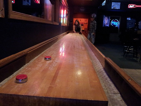 12ft Shuffle Golf table with stained cabinet