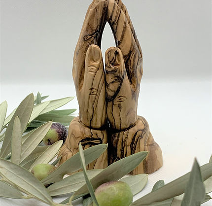 Olive Wood nativity ornaments-Hands in prayer