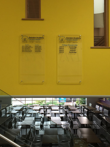 Swindon Academy perspex honours signs