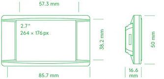 Размеры электронного ценника G1 retail 2.7 red NFC