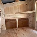 Inside hutch of chicken coop