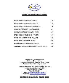 Millpond Hatchery 2021 Price List