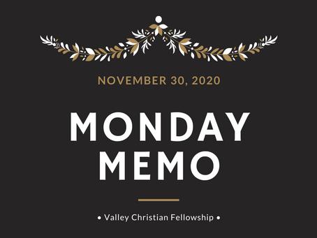 Monday Memo, November 30, 2020