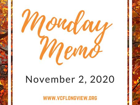 Monday Memo, November 2, 2020