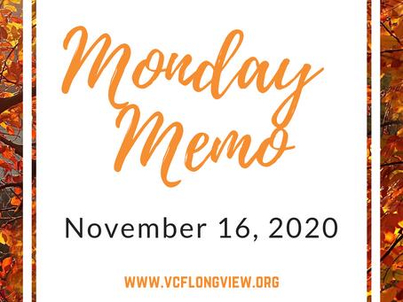 Monday Memo for November 16, 2020