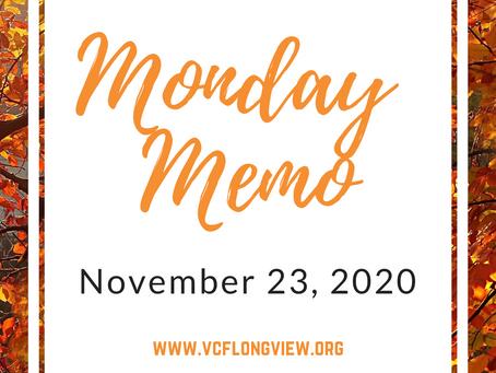 Monday Memo for November 23, 2020