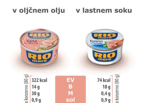 Tunina v oljčnem olju vsebuje več maščob, kot beljakovin