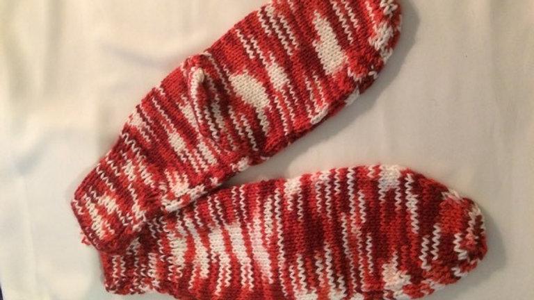 Red & White Handknitted Socks