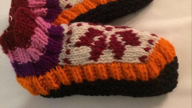 Handknitted Orange Booties