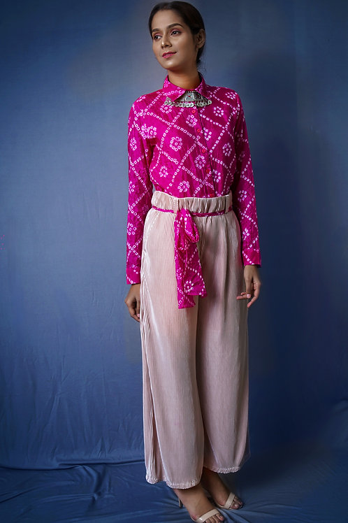 Bandhani Shirt w/ Beige pleated Pants
