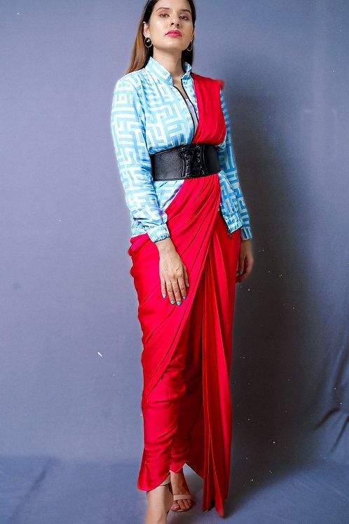 Red draped Saree with Signature Print Bomber Jacket