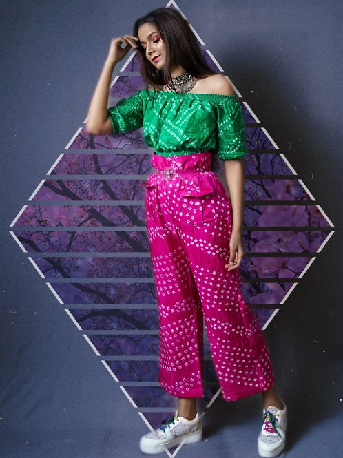 Green Off-Shoulder Top & Pink pants