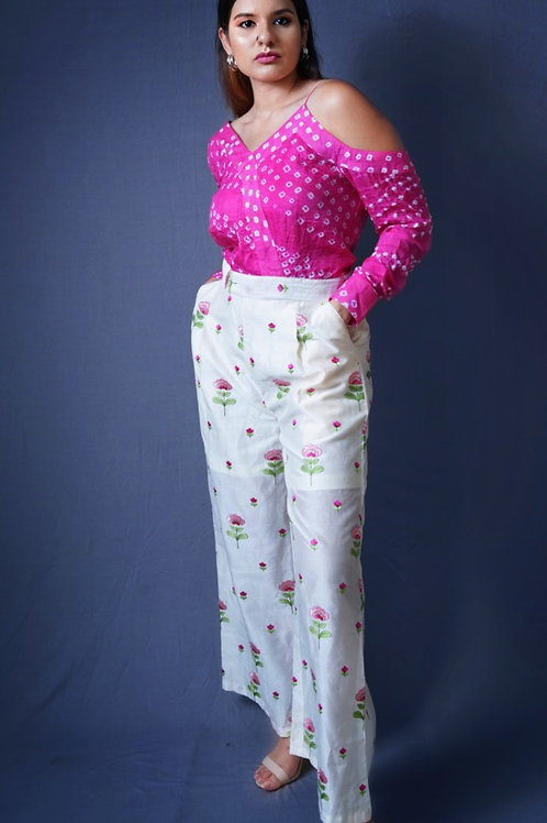 Pink hand-embroidered Bandhani Jumpsuit