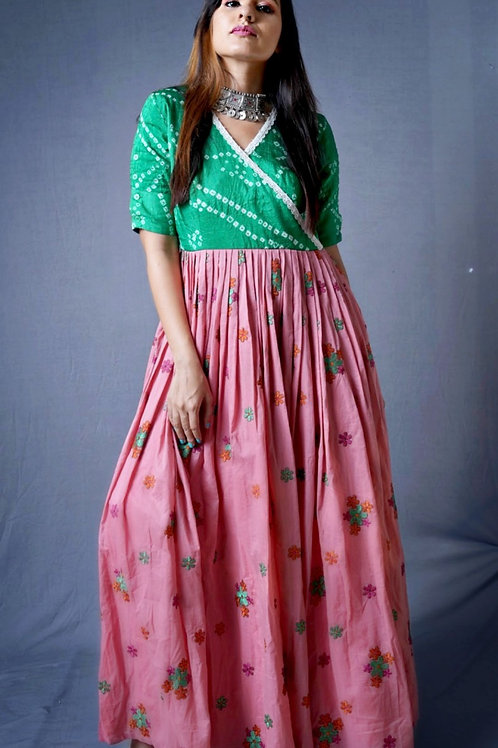 Green Bandhani Embroidered Gown