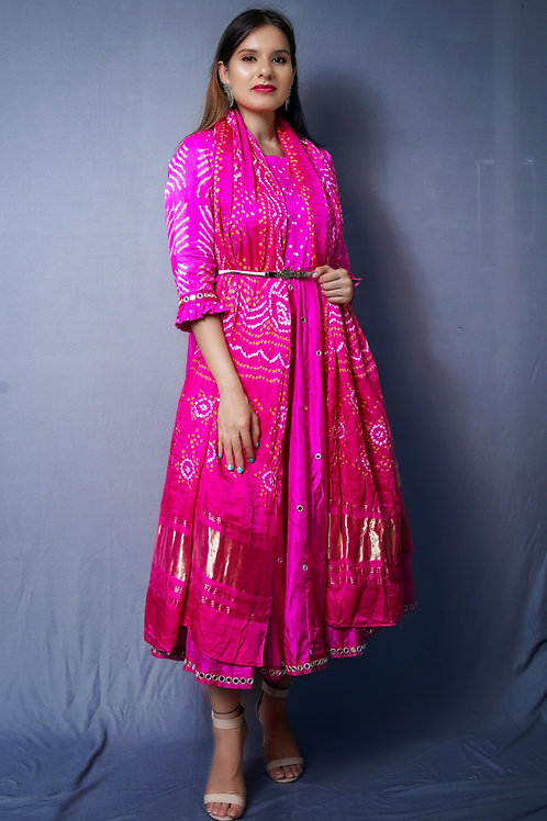 Pink Anarkali with Gajji silk bandhani Dupatta