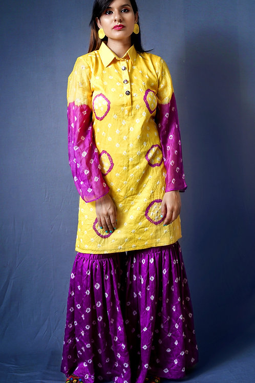Yellow & Purple Bandhani Sharara Set