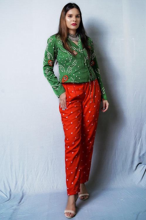 Green Angarakha and Orange Bandhani Pants